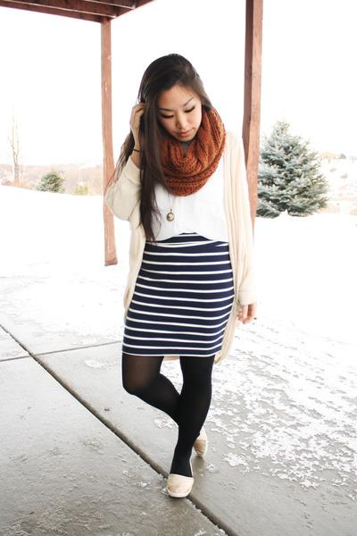 burnt orange asos scarf - navy stripes Forever 21 skirt