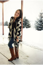 Black-chevron-poncho-the-mint-julep-sweater
