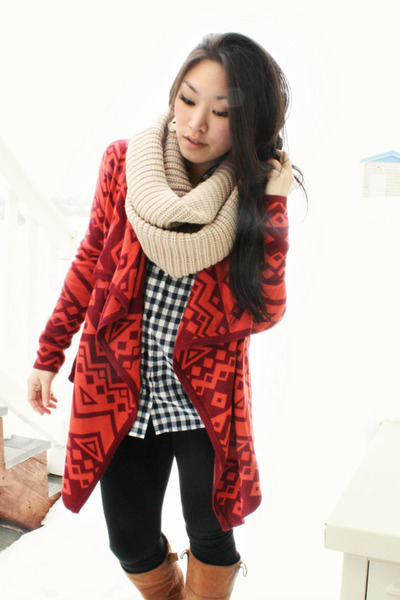 navy gingham Forever 21 shirt - brick red Urban Outfitters cardigan