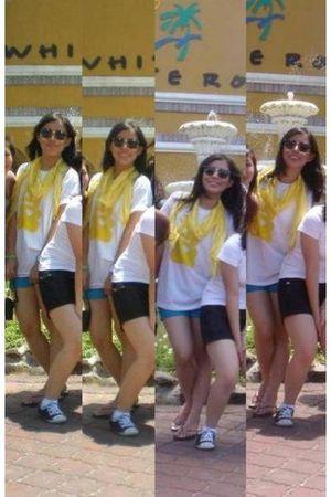 yellow random from Bangkok accessories - yellow I made it shirt - blue Greenhill