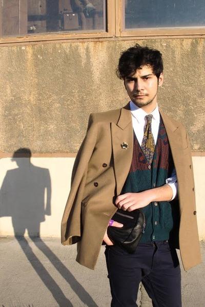 YSL jacket - Zara shirt - Zara bag - Vintage costume tie - vintage vest - pull&b