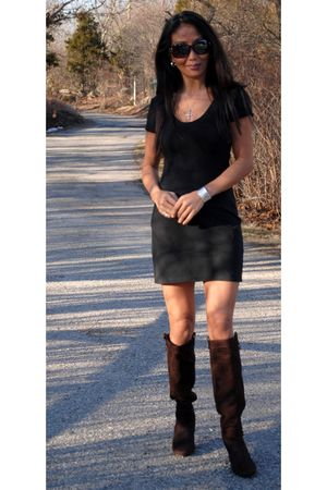 black dress - black bracelet - brown boots