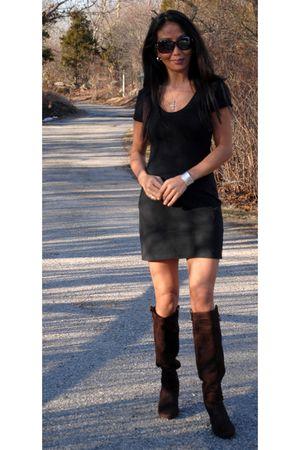 black dress - black bracelet - brown boots