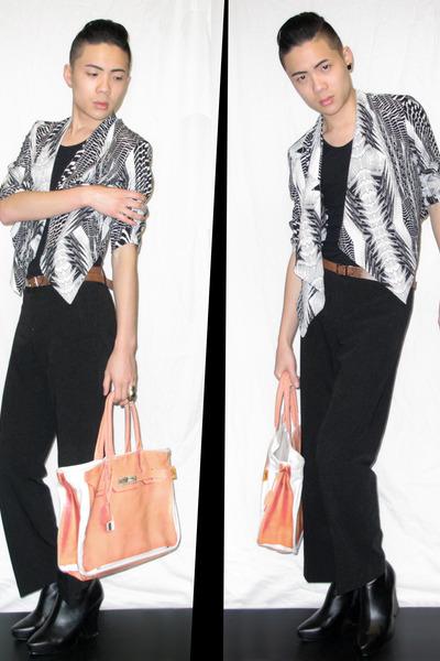 black draped jacket H&M jacket - carrot orange birkin tote Banane bag