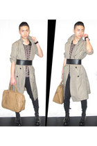 olive green machintosh coat Lanvin for H&M coat - black ankle boots zipia boots
