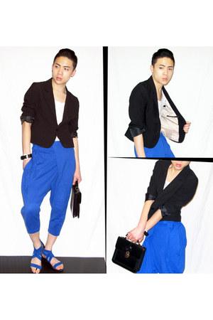 blue 3-4 pants unbranded pants - black cropped blazer H&M blazer