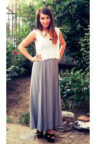 H&M Trend top - heather gray zara dress - new look sandals