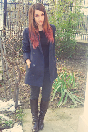 navy zara coat - dark brown zara boots - charcoal gray bershka leggings