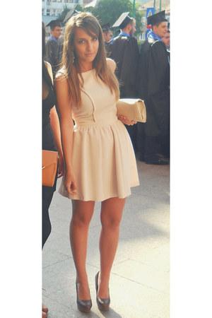 brown zara shoes - neutral bershka dress - stradivarius bag