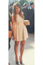brown zara shoes - neutral bershka dress - stradivarius bag