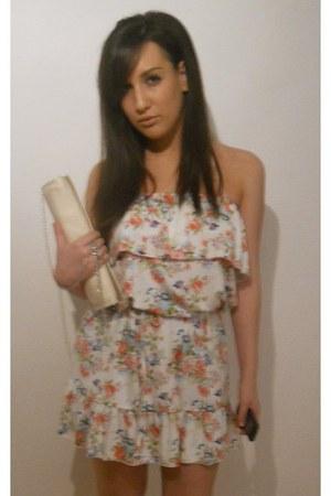 bershka floral dress - cream zara bag