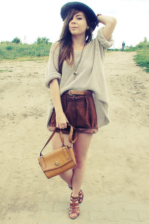 bronze bag - dark brown shorts - camel jumper
