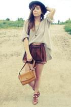 bronze bag - dark brown shorts - camel jumper