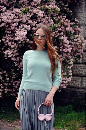 light blue sweater - teal skirt