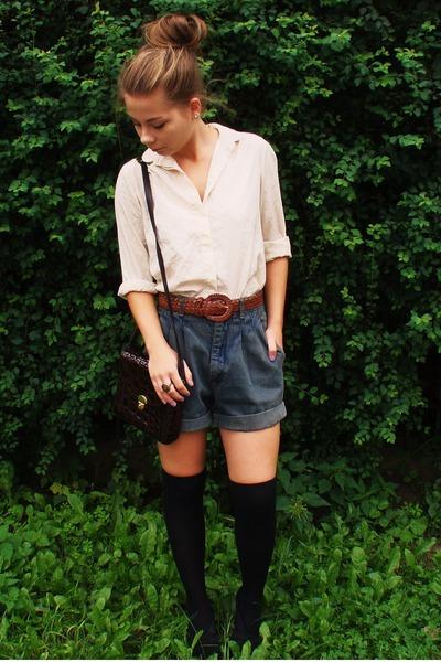 beige vintage shirt - gray vintage shorts - black H&M socks - black wedges CCC s