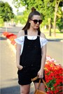 Black-dungarees-romper-white-blouse