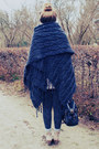 Navy-poncho-sweater