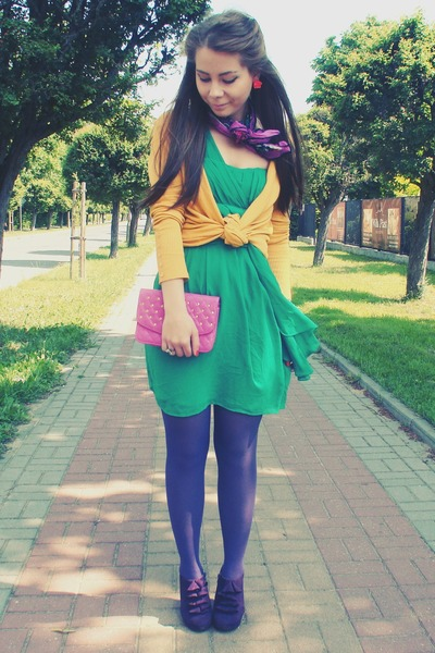 Purple and yellow and green dress