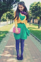 green dress - deep purple tights - bubble gum bag - yellow cardigan