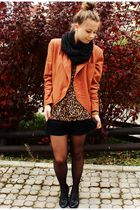 brown jacket - black shorts - black shoes - black scarf