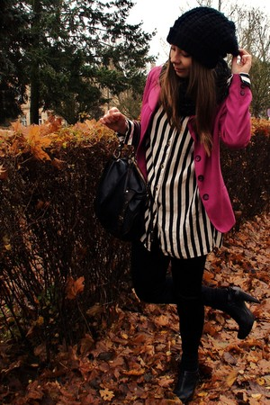 hot pink jacket - black blouse - black leggings - black - black shoes