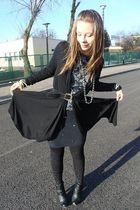 black cardigan - black dress - black leggings - black boots - gray blouse - silv