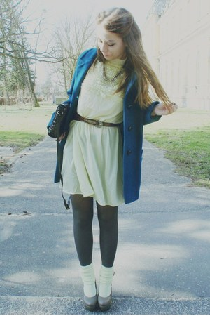 light yellow dress - turquoise blue coat - light yellow socks