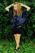 green warehouse blouse - black Atmosphere shorts - black wedges-CCC shoes