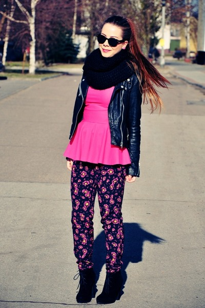 hot pink blouse - black jacket - hot pink floral pants