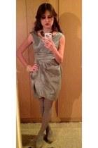 necklace - maroon Principles dress - bracelet - heels - panties