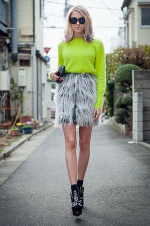 heather gray vintage fur Anna Sui skirt - lime green angora acne sweater