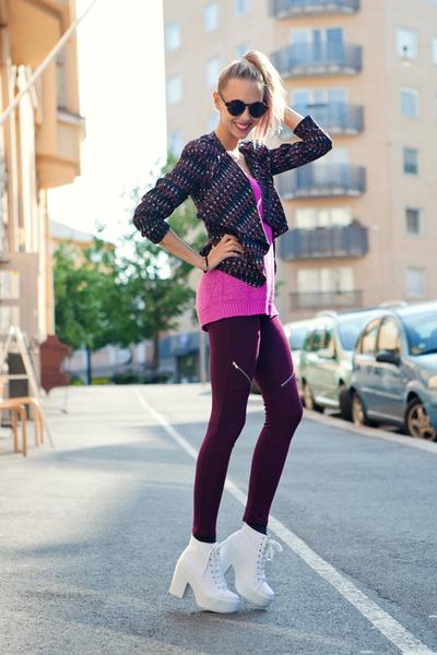 white Topshop boots - magenta BikBok leggings - navy H&M blazer