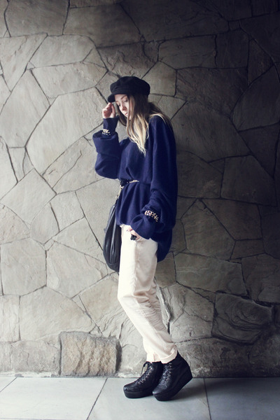 navy H&M hat - navy Maison Martin Margiela for H&M sweater