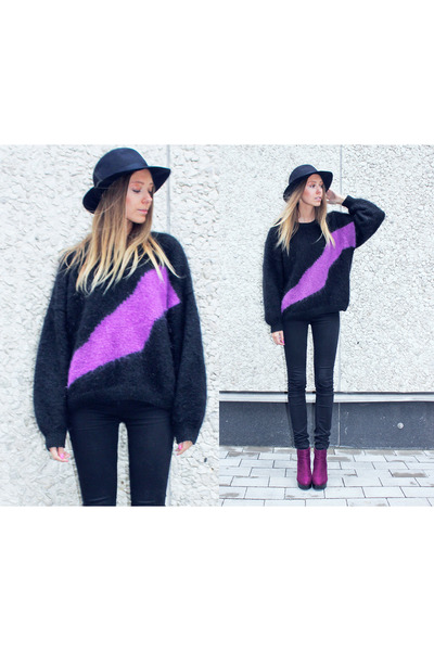 wool second hand sweater - Skopunkten boots - high waisted GINA TRICOT jeans