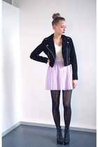 black leather lager 157 jacket - periwinkle H&M skirt