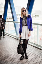 white vintage skirt - blue H&M blazer