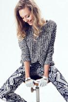 white H&M pants - black lindex jumper