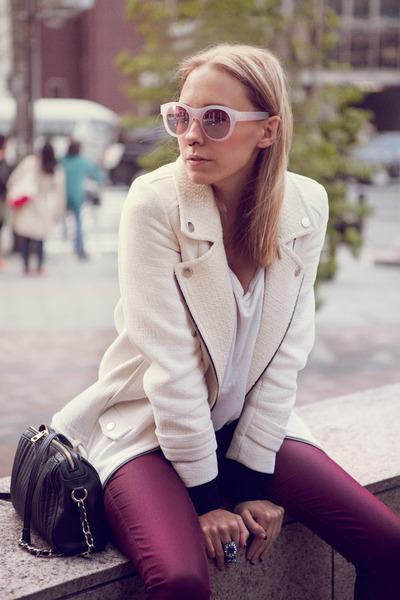 white cotton Zara jacket - black Mango bag - peach Forever21 sunglasses
