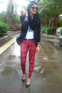 Black-coat-black-bag-red-pants-black-heels