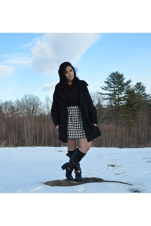 off white houndstooth Target skirt - black studded Forever 21 boots