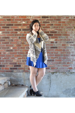 gray aztec online cardigan - blue Forever 21 dress