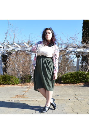 bubble gum floral thrifted cardigan - olive green high-low Target skirt