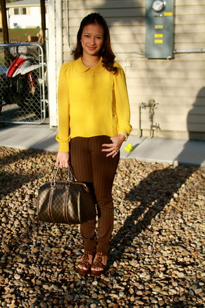 yellow Forever 21 top - dark brown classic print Gucci purse