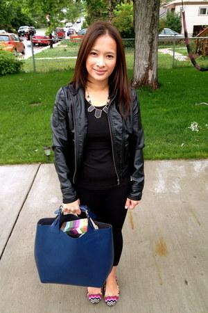 black leather Burlington jacket - black Kirkland shirt