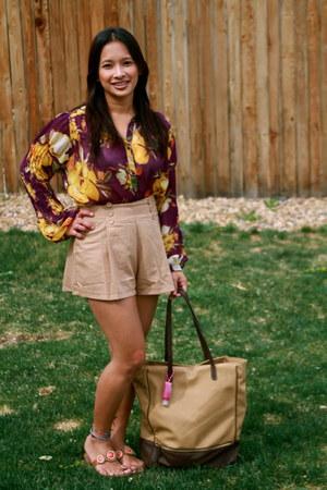 purple Nordstrom top - light brown Target purse - tan Greenhills Mall shorts