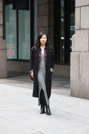black Zara boots - heather gray sweater dress asos dress - red Dressin bag