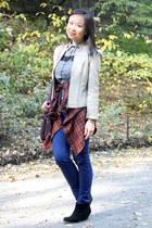 white tartan vintage shirt - brick red tartan vintage shirt