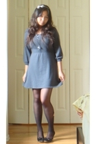 blue BCBG dress - black taiwan shoes
