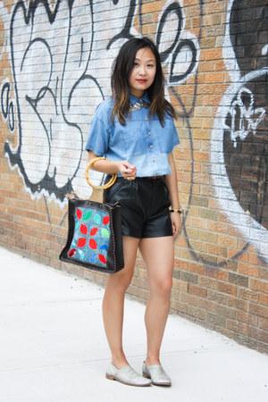 sky blue patchwork no brand bag - sky blue denim LF shirt