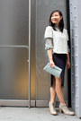Heather-gray-ankle-boots-initial-boots-light-blue-clutch-vintage-bag